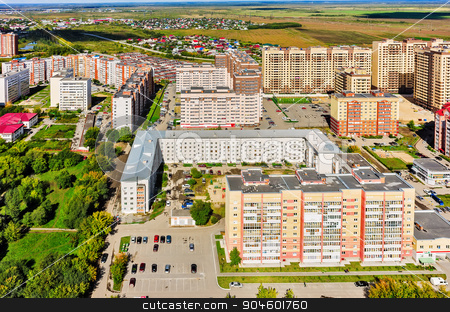 Star City residential complex. Tyumen. Russia stock photo, Tyumen, Russia - August 27, 2015: Aerial view on sleeping neighborhood in  Star City complex with new houses by Aikon