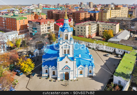 Aerial view on Znamensky Cathedral. Tyumen. Russia stock photo, Tyumen, Russia - September 24, 2014: Aerial view on Znamensky Cathedral from helicopter by Aikon