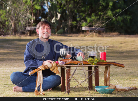 Bare Foot Male at Pagan Altar stock photo, Single bare foot male at pagan altar outdoors by Scott Griessel