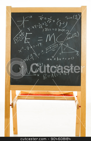 Blackboard with mathematics formulas stock photo, Blackboard or chalkboard with mathematics formulas in plain isolated white background. by Tan Kian Khoon