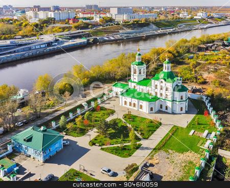 Voznesensko-Georgiyevsky church in Tyumen. Russia stock photo, Tyumen, Russia - September 24, 2014: Aerial view onto Voznesensko-Georgiyevsky church on bank of Tura river by Aikon