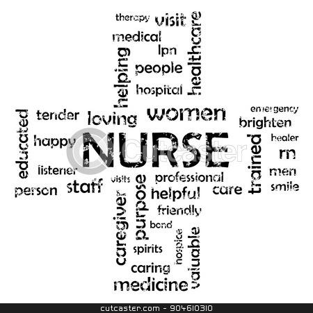 Nurse stock vector clipart, Nurse cloud tag icon vector eps 10 by Leonardo