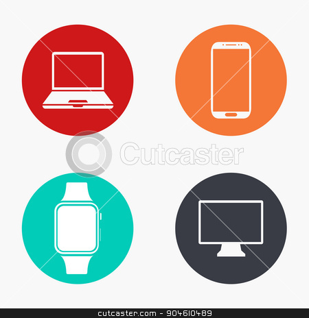 Vector modern gadget colorful icons set stock vector clipart, Vector modern gadget colorful icons set on white background by petr zaika