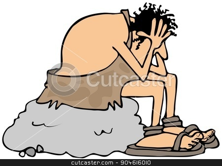 Depressed caveman stock photo, Illustration depicting a depressed caveman sitting on a large boulder with his head in his hands. by Dennis Cox