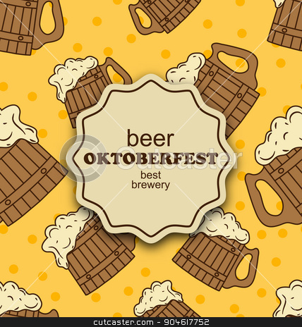 Greeting Card for Oktoberfest Party stock vector clipart, Illustration Greeting Card for Oktoberfest Party, Seamless Pattern with Wooden Foam Beer Mugs - Vector by -=Mad Dog=-