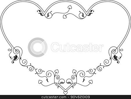 Love, Heart Frame Border Design stock vector