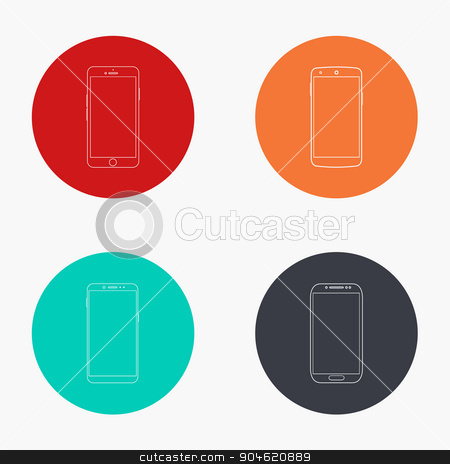 Vector modern smartphone colorful icons set stock vector clipart, Vector modern smartphone colorful icons set on white background by petr zaika