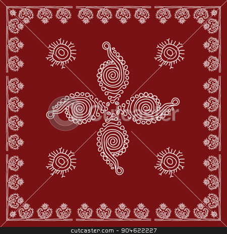 Folk Tribal Design Motif Wall Painting Stock Vector