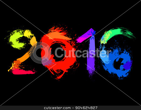 text of 2016, vector stock vector clipart, colorful decorative numbers of 2016, vector  by Galina Pankratova
