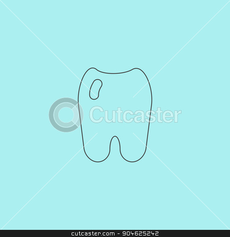 Tooth Icon stock vector clipart, Tooth. Simple outline flat vector icon isolated on blue background by Liudmila Marykon