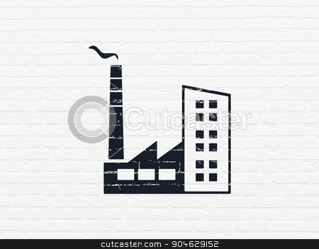 Finance concept: Industry Building on wall background stock photo, Finance concept: Painted black Industry Building icon on White Brick wall background by mkabakov