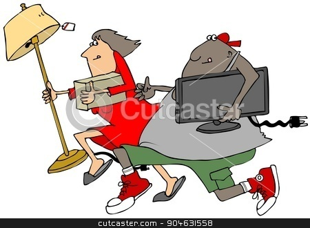 Looters stock photo, Illustration depicting a man and woman running after looting a store. by Dennis Cox