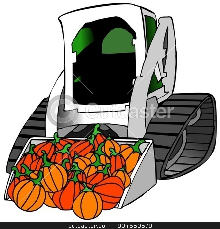 Small tractor load of pumpkins stock photo, Illustration depicting a small construction tractor with a full load of pumpkins in its bucket. by Dennis Cox