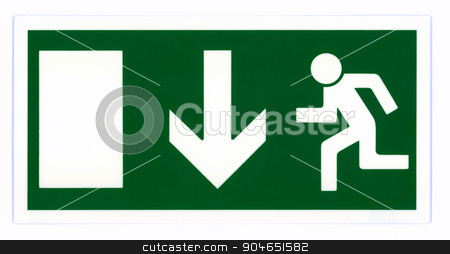 Emergency exit sign isolated stock photo, Emergency exit sign isolated on white with clipping path. Photo based, not an illustration. by a40757