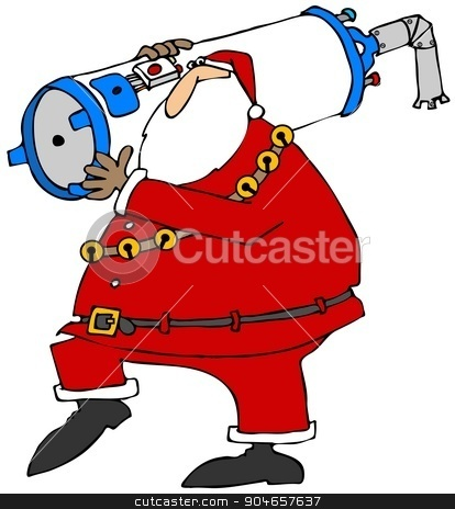 Santa carrying a water heater stock photo, Illustration depicting Santa Claus carrying a gas water heater. by Dennis Cox