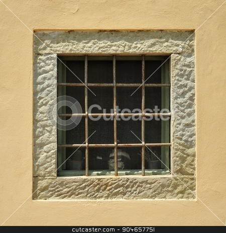 Windows stock photo, Windows with bars. by a40757
