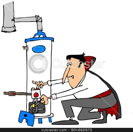 Vampire lighting a water heater stock photo, Illustration depicting a vampire kneeling down to light a gas water heater. by Dennis Cox