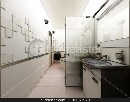 3D rendering of a modern bathroom interior design stock photo, 3d clay render of a modern bathroom interior design, 3D rendering by Vassiliy Kochetkov