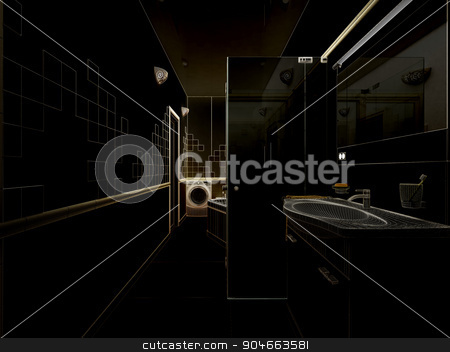 3D rendering of a modern bathroom interior design stock photo, 3d clay render of a modern bathroom interior design, 3D rendering by Vassiliy Kochetkov