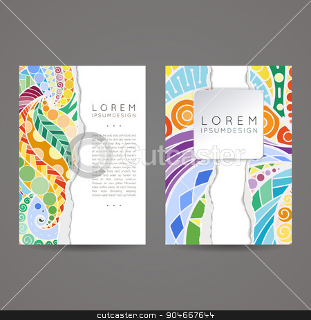 Set of vector design templates. Brochures in random colorful style. Vintage frames and backgrounds. stock vector clipart, Set of vector design templates. Brochures in random colorful style. Vintage frames and backgrounds. Zentangle designs. by Drekhann