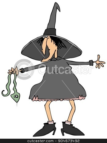 Witch holding a snake stock photo, Illustration depicting a Halloween witch holding a large green snake. by Dennis Cox