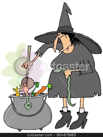 Witch making soup in a cauldron stock photo, Illustration depicting a Halloween witch making soup in a large metal cauldron. by Dennis Cox