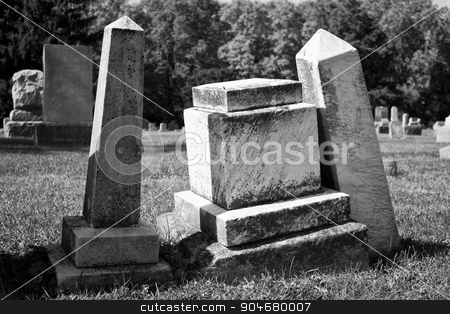 Angled Headstones - Black and White stock photo, Angled Headstones - Angled and Aged Headstones from 19th Century by jetcityimage