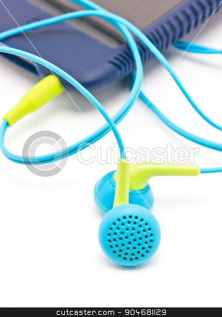 Colorful earphones with portable mp3 player. stock photo, Colorful earphones with portable mp3 player on white background. by Sirikorn Techatraibhop