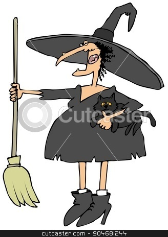 Witch holding a cat and broom stock photo, Illustration depicting a Halloween witch holding her black cat and broom. by Dennis Cox