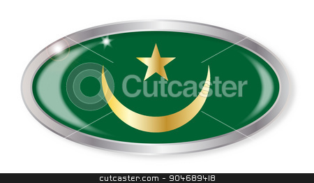 Mauritania Flag Oval Button stock vector clipart, Oval silver button with the Mauritania flag isolated on a white background by Kotto