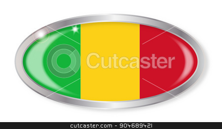 Mali Flag Oval Button stock vector clipart, Oval silver button with the Mali flag isolated on a white background by Kotto