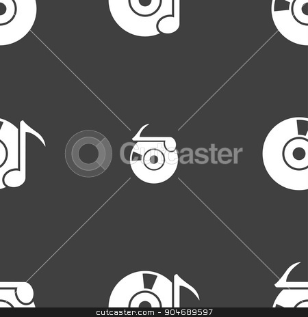 CD or DVD icon sign. Seamless pattern on a gray background. Vector stock vector clipart, CD or DVD icon sign. Seamless pattern on a gray background. Vector illustration by Serhii