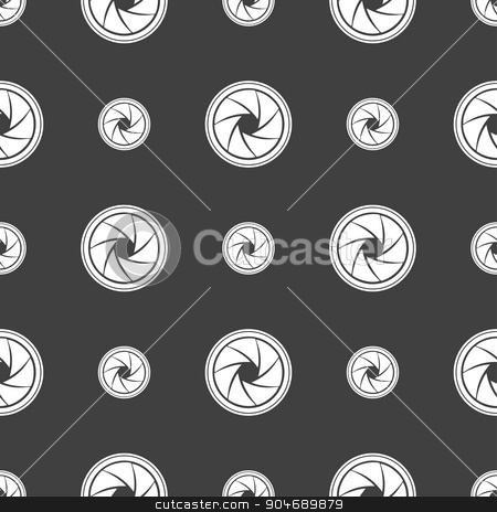 diaphragm icon. Aperture sign. Seamless pattern on a gray background. Vector stock vector clipart, diaphragm icon. Aperture sign. Seamless pattern on a gray background. Vector illustration by Serhii