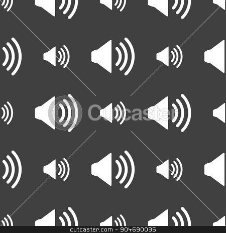 Speaker volume sign icon. Sound symbol. Seamless pattern on a gray background. Vector stock vector clipart, Speaker volume sign icon. Sound symbol. Seamless pattern on a gray background. Vector illustration by Serhii