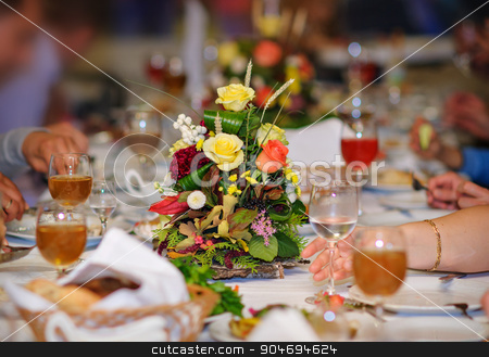 beautiful wedding table with flowers in restaurant stock photo, beautiful wedding table with flowers in restaurant. by timonko