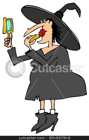 Witch applying lipstick stock photo, Illustration depicting a Halloween witch applying lipstick while looking in a mirror. by Dennis Cox