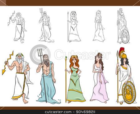 Greek Gods Cartoon Illustration Stock Vector