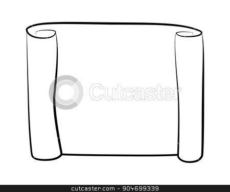 Paper scroll silhouette vector isolated on white background  Empty