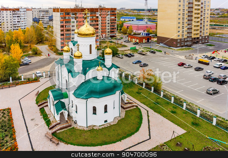 Church in Tura residential district.Tyumen. Russia stock photo, Tyumen, Russia - September 26, 2015: Aerial view onto temple in honor of the Reverend Seraphim of Sarov. Tura residential district by Aikon