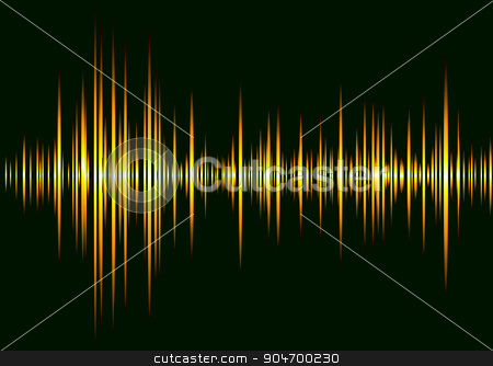 sound wave beats stock vector clipart, sound equalizer with orange graphics bars and black background by Michael Travers