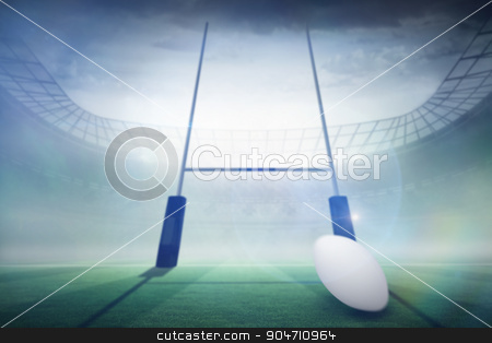 Composite image of rugby ball stock photo, rugby ball against rugby pitch by Wavebreak Media