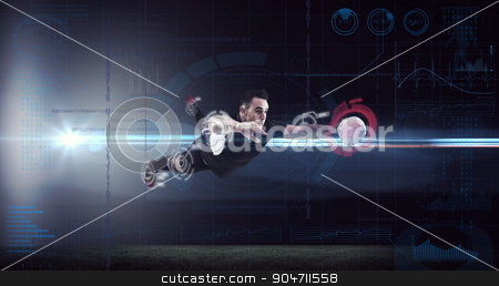 Composite image of rugby player scoring a try stock photo, Rugby player scoring a try against fitness interface by Wavebreak Media