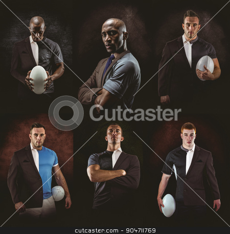 Composite image of rugby player looking at camera stock photo, Rugby player looking at camera against half a suit by Wavebreak Media
