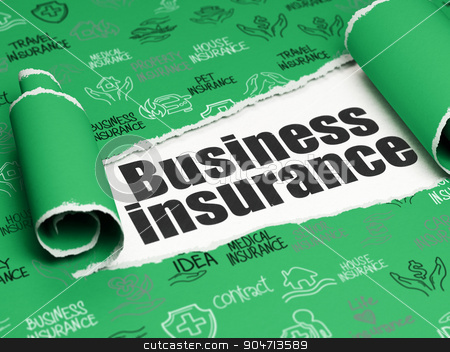 Insurance concept: black text Business Insurance under the piece of  torn paper stock photo, Insurance concept: black text Business Insurance under the curled piece of Green torn paper with  Hand Drawn Insurance Icons by mkabakov