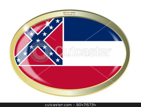 Mississippi State Flag Oval Button stock vector clipart, Oval metal button with the Mississippi flag isolated on a white background by Kotto
