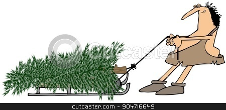 Caveman pulling a Christmas tree stock photo, Illustration depicting a caveman pulling a large evergreen tree on a sled. by Dennis Cox
