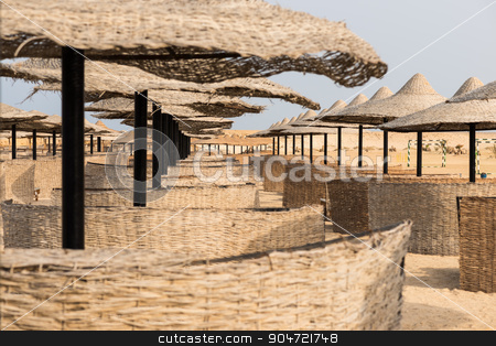Parasols stock photo, In the picture a group of beach parasols in Egypt by Robertobinetti70