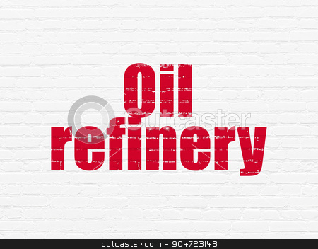 Industry concept: Oil Refinery on wall background stock photo, Industry concept: Painted red text Oil Refinery on White Brick wall background by mkabakov