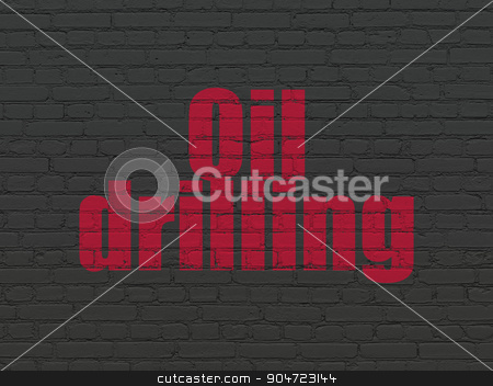Manufacuring concept: Oil Drilling on wall background stock photo, Manufacuring concept: Painted red text Oil Drilling on Black Brick wall background by mkabakov