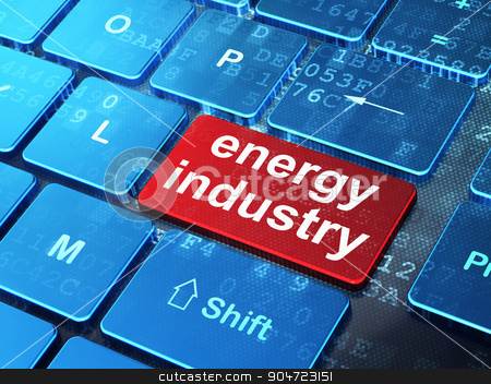 Industry concept: Energy Industry on computer keyboard background stock photo, Industry concept: computer keyboard with word Energy Industry on enter button background, 3d render by mkabakov